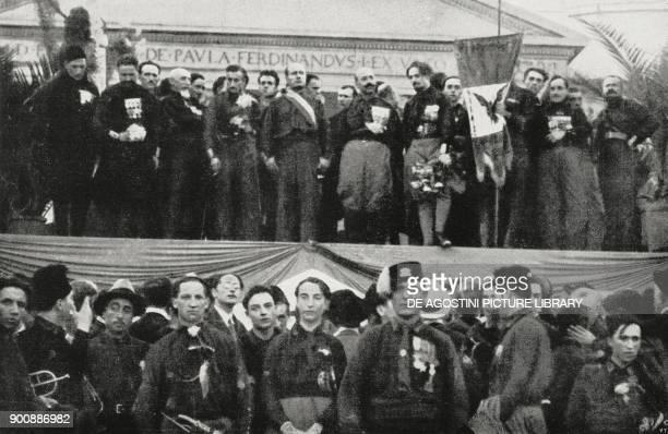Benito Mussolini speaking in Piazza Plebiscito fascist gathering in Naples Italy October 24 from L'Illustrazione Italiana Year XLIX No 45 November 5...