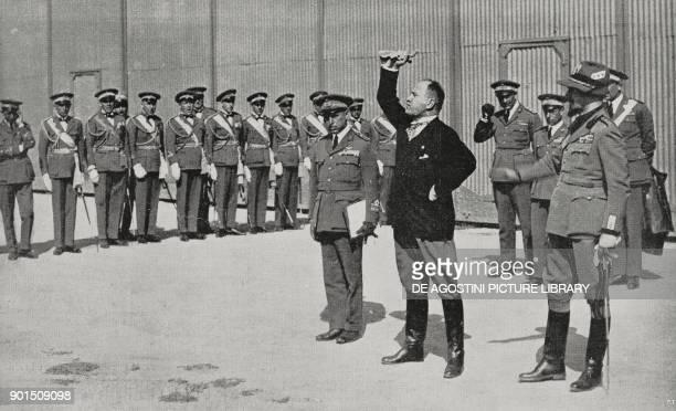 Benito Mussolini speaking to air brigade pilots, Orbetello, Tuscany, Italy, from L'Illustrazione Italiana, Year LV, No 24, June 10, 1928.