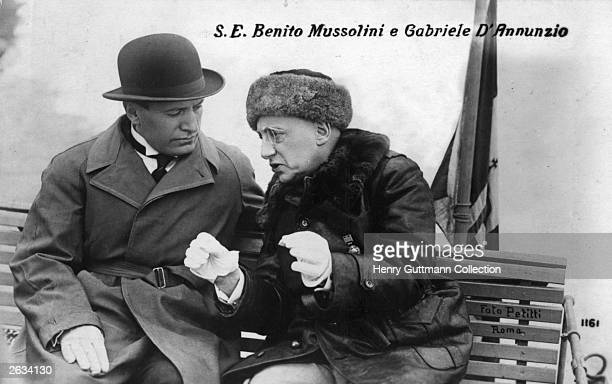 Benito Mussolini talking with Italian writer and political leader Gabriele D'Annunzio