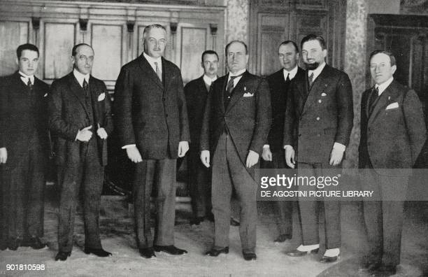 Benito Mussolini the German ambassador Von Neurath and Undersecretary for Foreign affairs Dino Grandi after signing the FrancoGerman arbitration...
