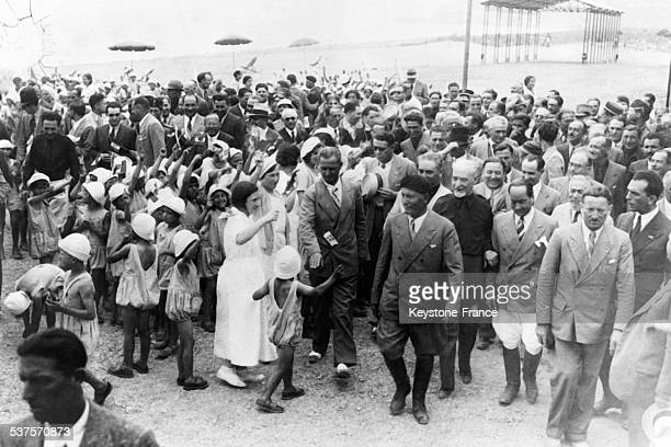 Benito Mussolini visits the cleanse Pontine marshes and attends the first wheat Harvests in Italy on August 7 1933