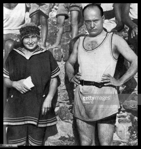 Benito Mussolini with his wife Donna Rachele Mussolini at the beach circa 1929