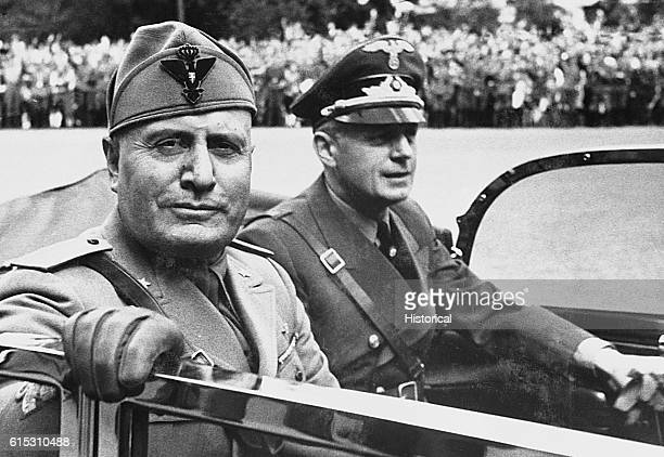 Benito Mussolini with Joachim von Ribbentrop a German diplomat who acted as Hitler's minister of foreign affairs from 19381945 and was later hanged...