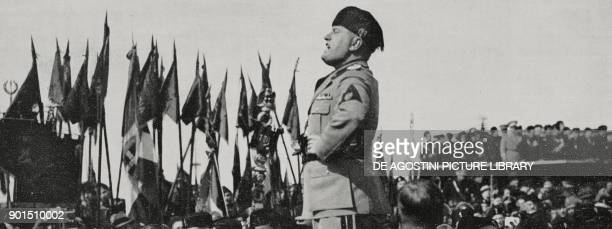 Benito Mussolini's speech during the foundation ceremony of the city of Aprilia Agro Pontino Italy from L'Illustrazione Italiana year LXIII n 18 May...
