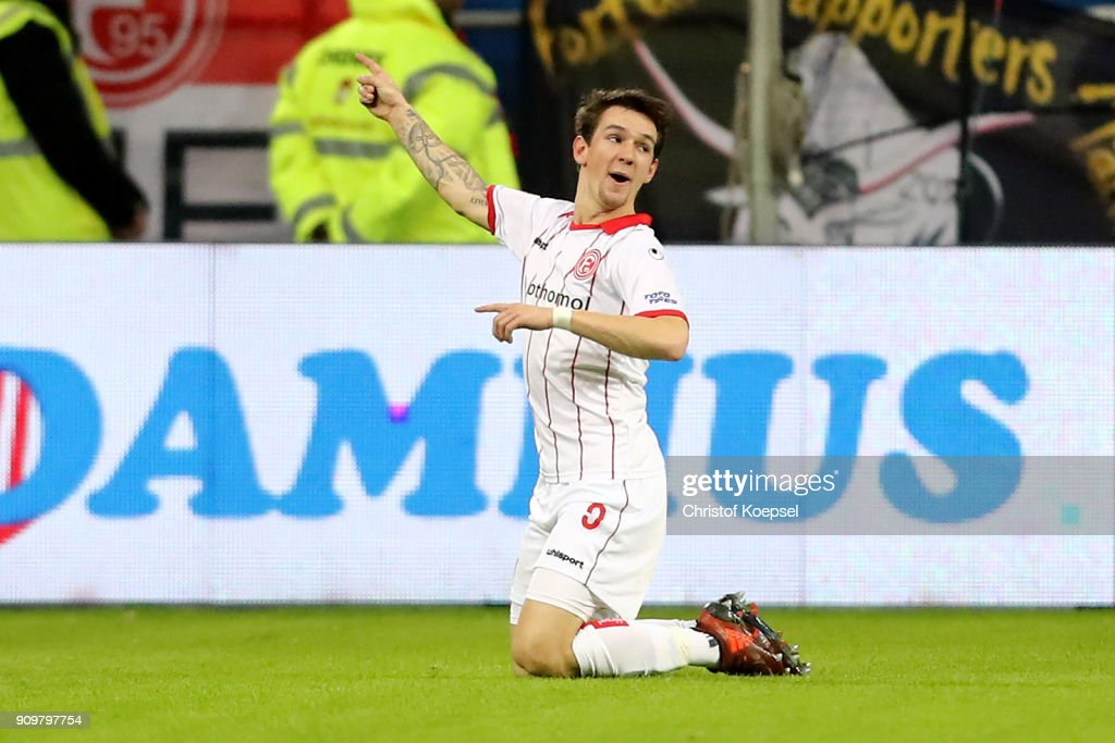 Benito Raman of Duesseldorf celebrates the first goal during the Second Bundesliga match between Fortuna Duesseldorf and FC Erzgebirge Aue at Esprit-Arena on January 24, 2018 in Duesseldorf, Germany.