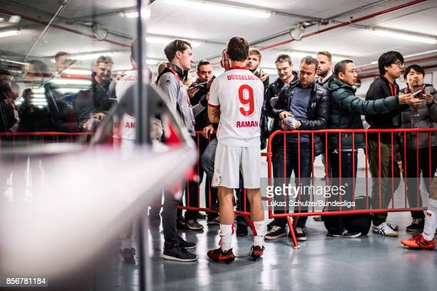 Benito Raman of Duesseldorf gives interviews after the Second Bundesliga match between Fortuna Duesseldorf and MSV Duisburg at EspritArena on October...