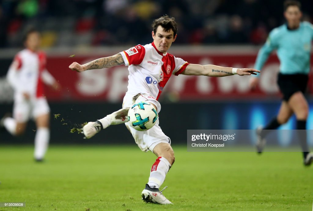 Benito Raman of Duesseldorf kicks the ball during the Second Bundesliga match between Fortuna Duesseldorf and SV Sandhausen at Esprit-Arena on February 2, 2018 in Duesseldorf, Germany. The match between Duesseldorf and Sandhausen ended 1-0.