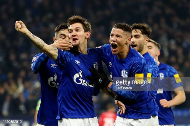 Benito Raman of FC Schalke 04 celebrates his goal during the Bundesliga match between FC Schalke 04 and 1 FC Union Berlin at VeltinsArena on November...