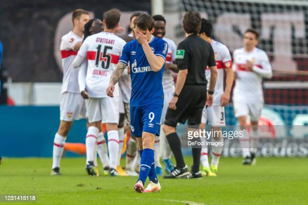 Benito Raman of FC Schalke 04 looks dejected during the Bundesliga match between VfB Stuttgart and FC Schalke 04 at Mercedes-Benz Arena on February...
