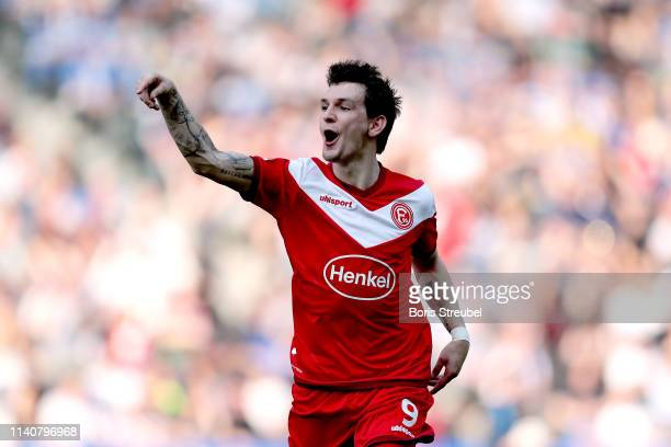 Benito Raman of Fortuna Duesseldorf celebrates after scoring his team's first goal during the Bundesliga match between Hertha BSC and Fortuna...