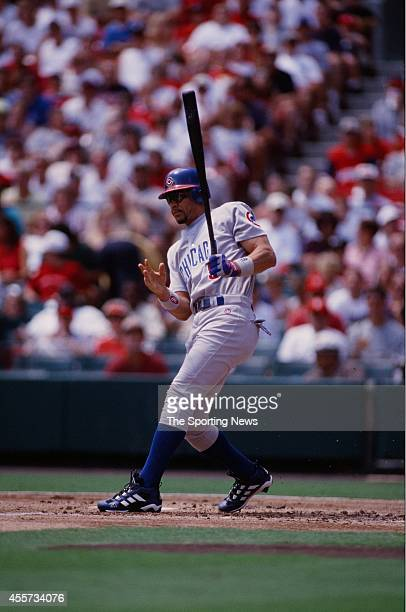 Benito Santiago of the Chicago Cubs bats against the St Louis Cardinals at Busch Stadium on August 14 1999 in St Louis Missouri The Cubs beat the...