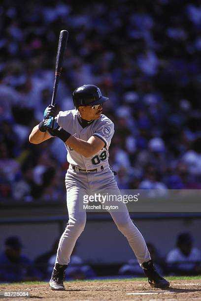 Benito Santiago of the Florida Marlins bats during a baseball game against the Chicago Cubs on June 1 1993 at Wrigley Field in Chicago Illinois