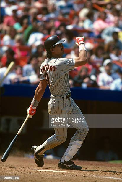 Benito Santiago of the San Diego Padres bats against the New York Mets during an Major League Baseball game circa 1988 at Shea Stadium in the Queens...