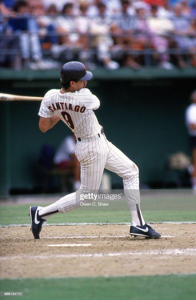 Benito Santiago of the San Diego Padres bats at Jack Murphy Stadium circa 1987 in San Diego, California.
