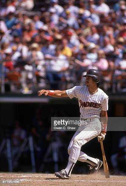 Benito Santiago of the San Diego Padres circa 1987 bats at Jack Murphy Stadium in San Diego California