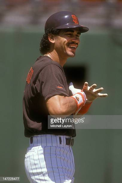 Benito Santiago of the San Diego Padres looks on before a baseball game on against the Los Angeles Dodgers on June 1 1988 at Jack Murphy Stadium in...