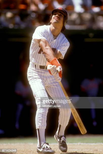 Benito Santiago of the San Diego Padres takes a swing during a baseball game on against the Los Angeles Dodgers on June 1 1988 at Jack Murphy Stadium...