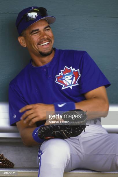 Benito Santiago of the Toronto Blue Jays looks on during a spring training work out on February 27 1997 at Dunedin Stadium in Dunedin Florida