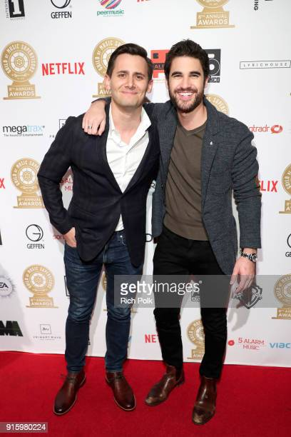Benj Pasek and Darren Criss attend the 8th Annual Guild of Music Supervisors Awards at The Theatre at Ace Hotel on February 8 2018 in Los Angeles...