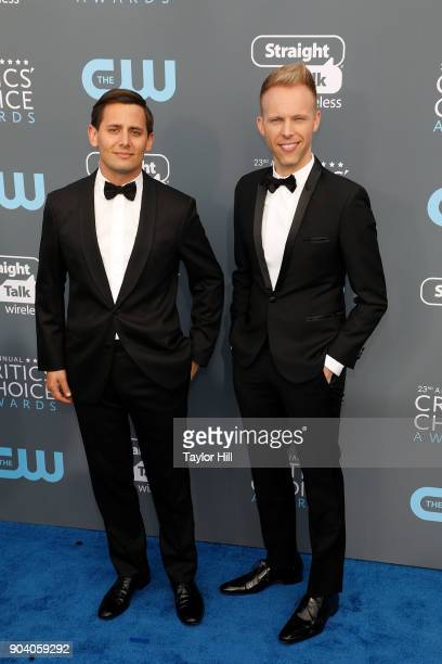 Benj Pasek and Justin Paul attend the 23rd Annual Critics' Choice Awards at Barker Hangar on January 11 2018 in Santa Monica California