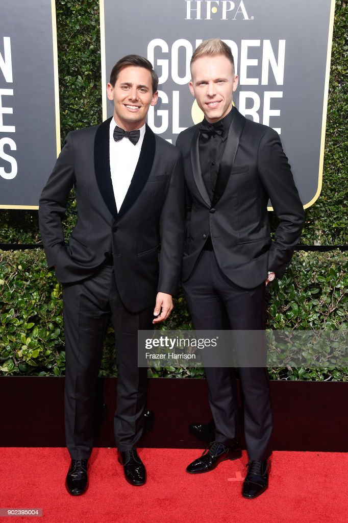 Benj Pasek and Justin Paul attend The 75th Annual Golden Globe Awards at The Beverly Hilton Hotel on January 7, 2018 in Beverly Hills, California.