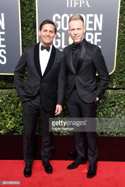 Benj Pasek and Justin Paul attend The 75th Annual Golden Globe Awards at The Beverly Hilton Hotel on January 7 2018 in Beverly Hills California