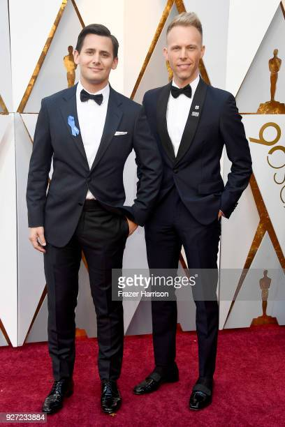 Benj Pasek and Justin Paul attend the 90th Annual Academy Awards at Hollywood Highland Center on March 4 2018 in Hollywood California