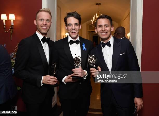 "Benj Pasek and Justin Paul , winners of the award for Best Score for ""Dear Evan Hansen,"" and Steven Levenson , winner of the award for Best Book of a..."