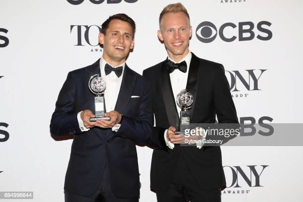 "Benj Pasek and Justin Paul winners of the award for Best Score for ""Dear Evan Hansen"" pose in the press room during the 2017 Tony Awards at 3 West..."