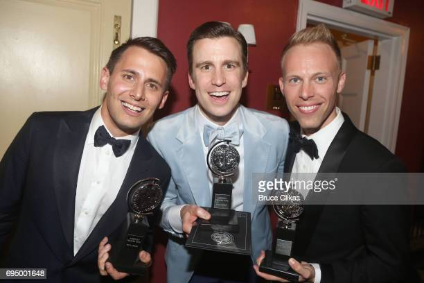 Benj Pasek and Justin Paul winners of the award for Best Score for 'Dear Evan Hansen' and Gavin Creel winner of the award for Best Performance by an...