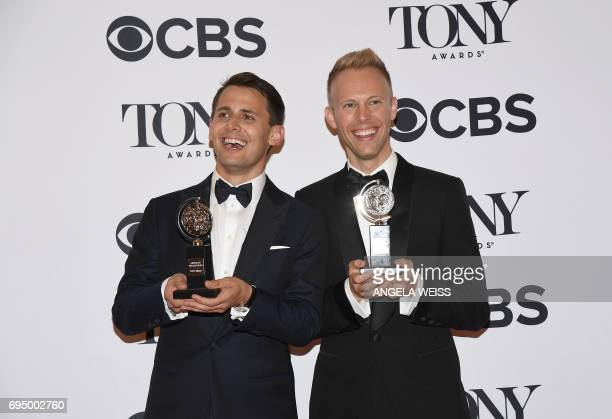 Benj Pasek and Justin Paul winners of the award for Best Score for Dear Evan Hansen poses in the press room during the 2017 Tony Awards at 3 West...