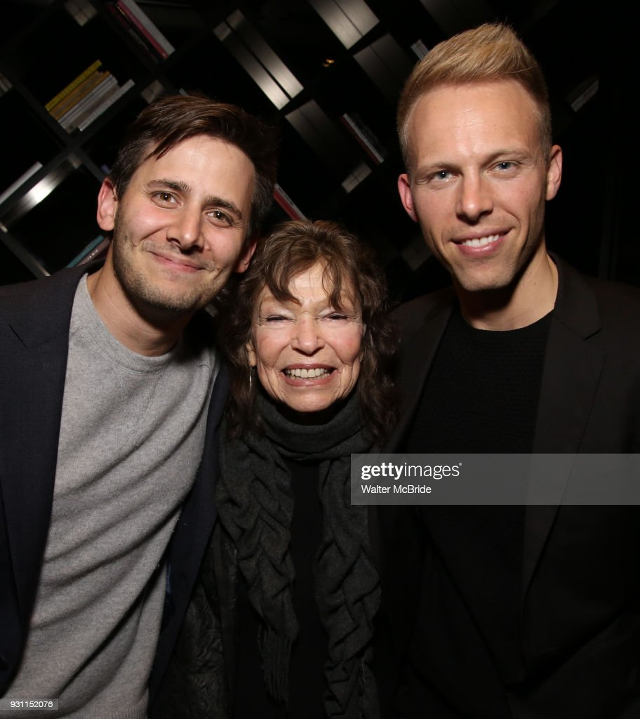 Benj Pasek, Gretchen Cryer and Justin Paul attend The Dramatists Guild Foundation Salon with Matt Gould on March 12, 2018 at StellarTower in New York City.