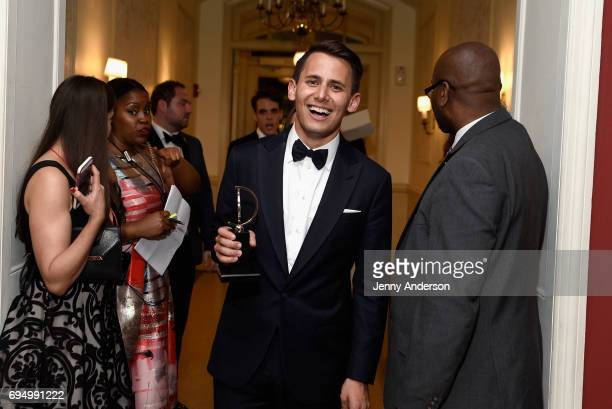 "Benj Pasek winner of the award for Best Score for ""Dear Evan Hansen"" poses in the press room during the 2017 Tony Awards at 3 West Club on June 11..."