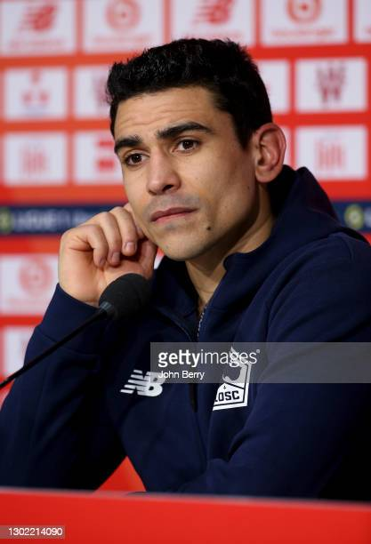 Benjamin Andre of Lille answers to the media during the post-match press conference following the Ligue 1 match between Lille OSC and Stade Brestois...
