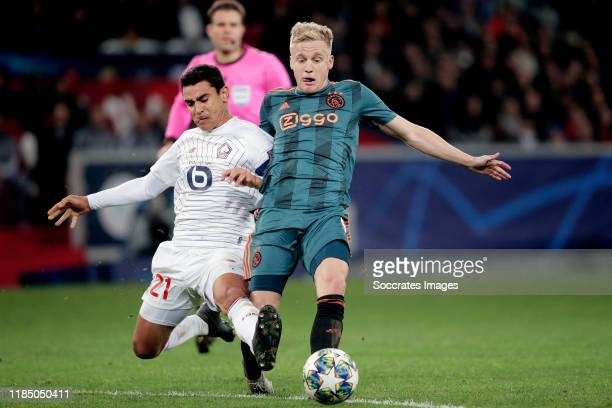 Benjamin Andre of Lille, Donny van de Beek of Ajax during the UEFA Champions League match between Lille v Ajax at the Stade Pierre Mauroy on November...