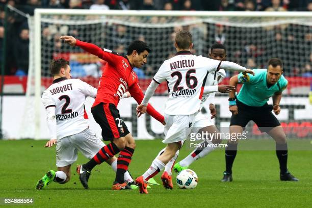 Benjamin Andre of Rennes and Vincent Koziello of Nice during the Ligue 1 match between Stade Rennais and OGC Nice at Roazhon Park on February 12 2017...