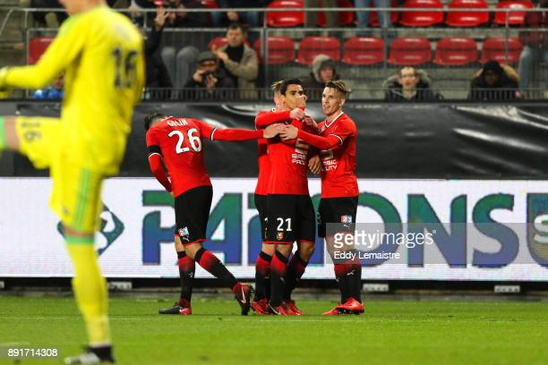 Benjamin Andre of Rennes celebrates after scoring a goal during the french League Cup match Round of 16 between Rennes and Marseille on December 13...