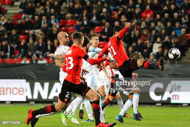 Benjamin Andre of Rennes scores a goal during the french League Cup match Round of 16 between Rennes and Marseille on December 13 2017 in Rennes...