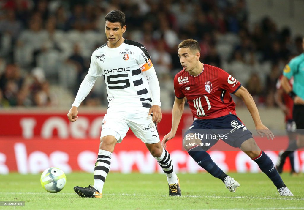 Benjamin Andre of Stade Rennais and Ezequiel Ponce of Lille during the pre-season friendly match between Lille OSC (LOSC) and Stade Rennais FC (Rennes) at Stade Pierre Mauroy on July 29, 2017 in Lille, France.