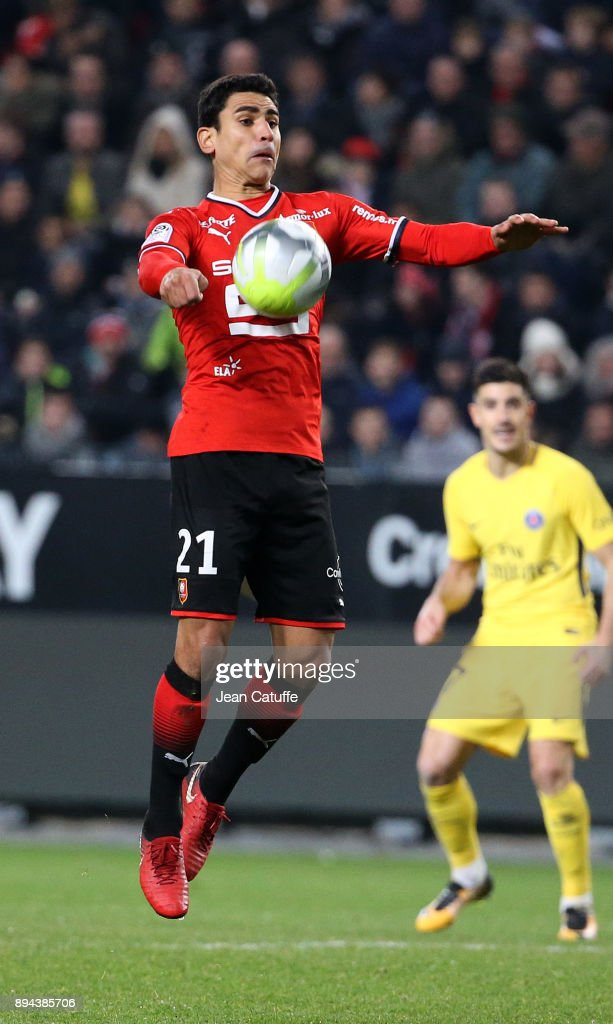 Benjamin Andre of Stade Rennais during the French Ligue 1 match between Stade Rennais and Paris Saint Germain (PSG) at Roazhon Park on December 16, 2017 in Rennes, France.