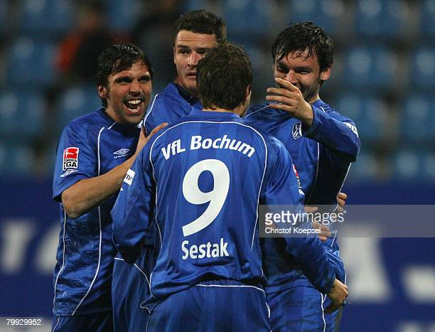 Benjamin Auer of Bochum celebrates his 2-1 goal with Daniel Imhof , Marcel Maltritz and Stanislav Sestak during the Bundesliga match between VfL...