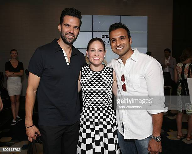 Benjamin Ayres, Tara Spencer-Nairn and Huse Madhavji attend the 8th Annual Bask-It-Style Media Day At The Thompson Hotel By GLO Communications on...