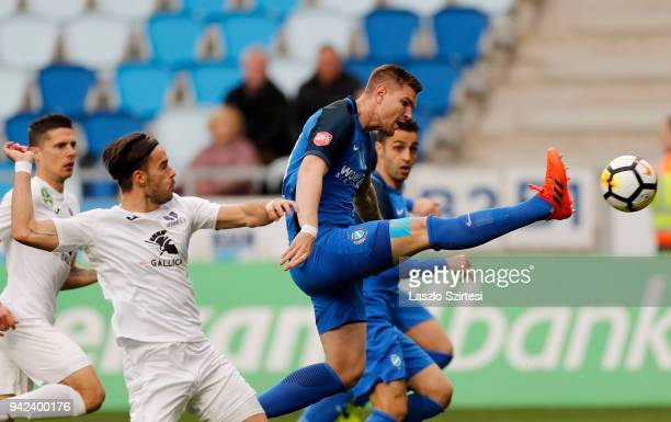 Benjamin Balazs of Ujpest FC David Mohl of Ujpest FC Attila Talaber of MTK Budapest and Laszlo Lencse of MTK Budapest in action during the Hungarian...
