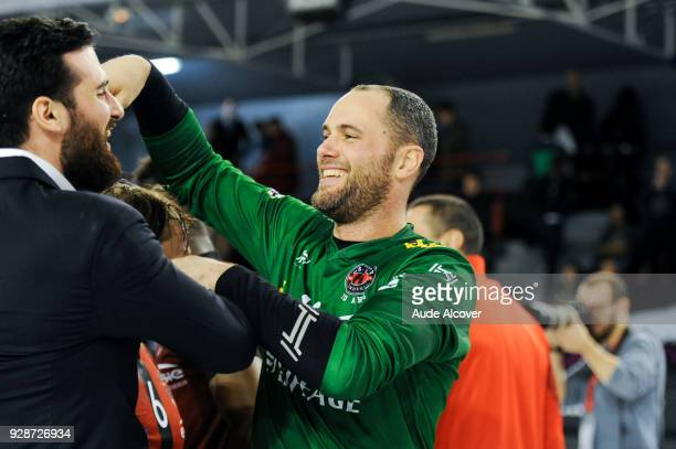Benjamin Bataille and Francois Xavier Chapon of Ivry celebrate during the Lidl Starligue match between Ivry and Chambery on March 7 2018 in...