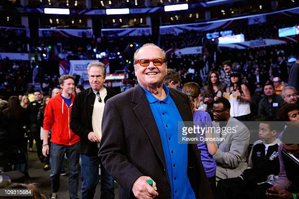 Benjamin Beatty actors Warren Beatty and actor Jack Nicholson walk courtside during the 2011 NBA AllStar game at Staples Center on February 20 2011...