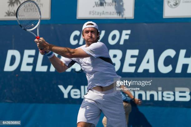 Benjamin Becker is defeated by Akira Santillan during the Qualifying Round of the ATP Delray Beach Open on February 19 2017 in Delray Beach Florida