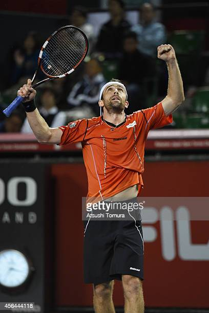 Benjamin Becker of Germany celebrates after winning the men's singles second round match against Tatsuma Ito of Japan on day three of Rakuten Open...
