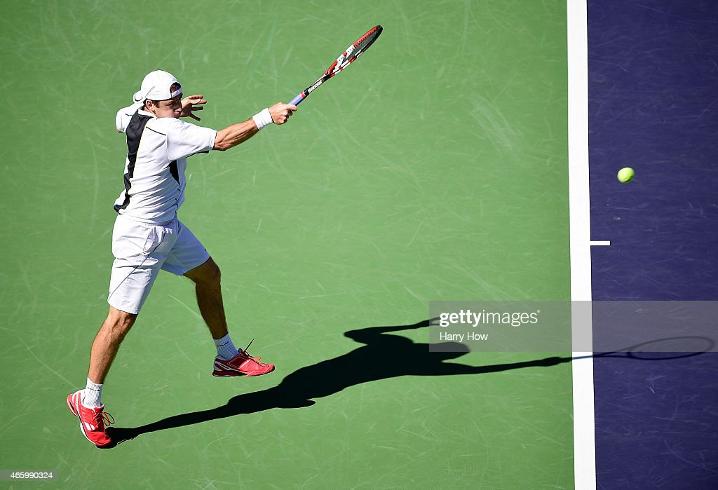 Benjamin Becker of Germany hits a forehand in his match against Tim Smyczek during the BNP Parisbas Open at the Indian Wells Tennis Garden on March 11, 2015 in Indian Wells, California.