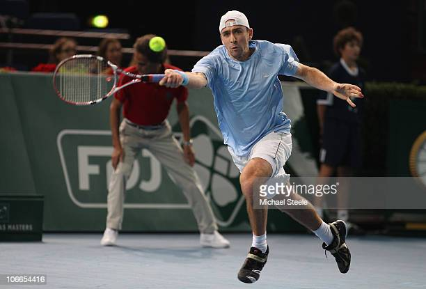 Benjamin Becker of Germany in action against Gael Monfils of France during Day Three of the ATP Masters Series Paris at the Palais Omnisports on...