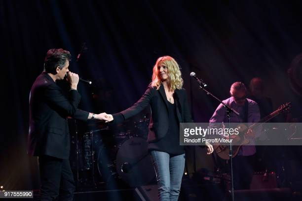 Benjamin Biolay and Sandrine Kiberlain perform during the Charity Gala against Alzheimer's disease at Salle Pleyel on February 12 2018 in Paris France